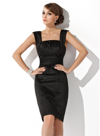 Sheath/Column Square Neckline Knee-Length Satin Cocktail Dress With Ruffle