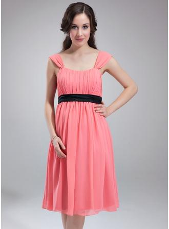 Empire-Linie U-Ausschnitt Knielang Chiffon Brautjungfernkleid Für Schwangere mit Rüschen Schleifenbänder/Stoffgürtel