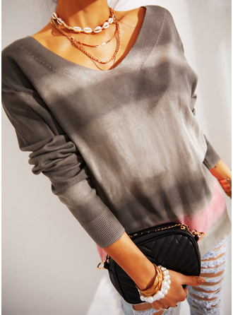 Color Block V-Neck Long Sleeves