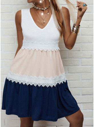 Color Block Lace A-line Sleeveless Mini Casual Skater Dresses