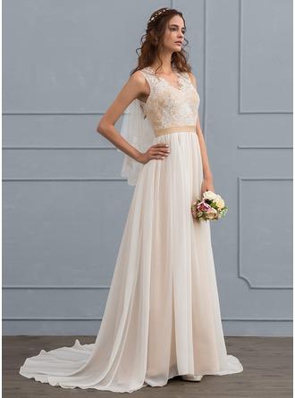 Corte A/Princesa Escote en V Cola corte Gasa Vestido de novia