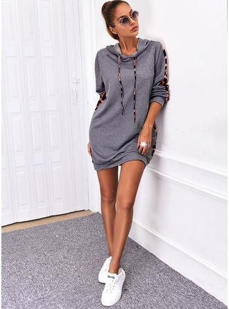 Print Shift Long Sleeves Mini Casual Sweatshirt Dresses