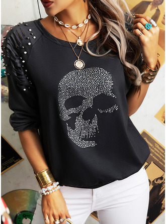 Beaded Sequins Round Neck Long Sleeves Casual Blouses