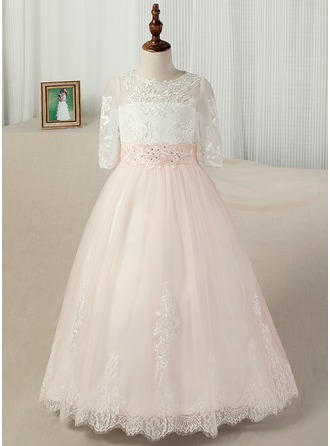 Ball Gown Sweep Train Pageant Dresses - Satin/Tulle/Lace 1/2 Sleeves Scoop Neck With Sash/Appliques