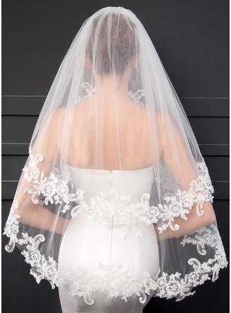 Zweischichtig Spitze Saum Ellenbogen Braut Schleier mit Lace