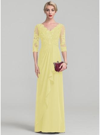 A-Linie/Princess-Linie V-Ausschnitt Bodenlang Chiffon Spitze Kleid für die Brautmutter mit Perlstickerei Gestufte Rüschen