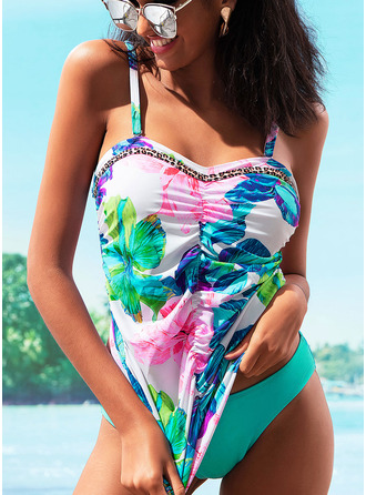 Tankinis Polyester Spandex Floral Women's Elegant Swimwear