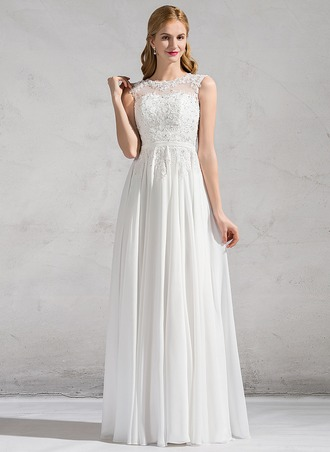 A-Line/Princess Scoop Neck Floor-Length Chiffon Lace Wedding Dress With Beading Sequins