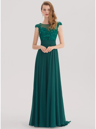 A-Line/Princess Scoop Neck Sweep Train Chiffon Evening Dress With Lace Beading