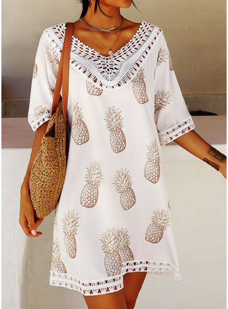 Print Shift 3/4 Sleeves Mini Casual Vacation Tunic Dresses