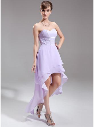 A-Line/Princess Sweetheart Asymmetrical Chiffon Holiday Dress