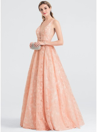 A-Line/Princess V-neck Floor-Length Lace Prom Dresses
