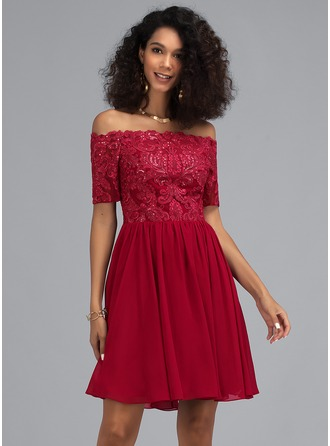 Corte A Off-the-ombro Curto/Mini Tecido de seda Vestido de boas vindas com lantejoulas
