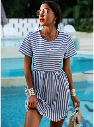 Striped Shift Short Sleeves Mini Casual T-shirt Dresses