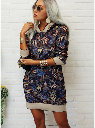 Print Shift Long Sleeves Midi Casual Sweatshirt Dresses