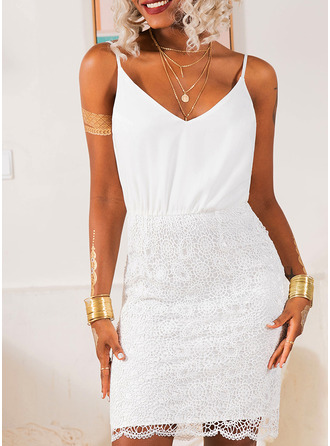 Lace Solid Bodycon Sleeveless Mini Party Elegant Type Dresses