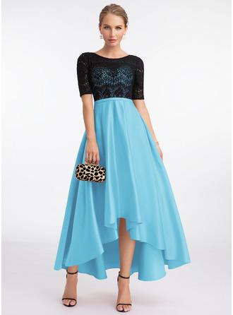 A-Line Scoop Neck Asymmetrical Satin Evening Dress