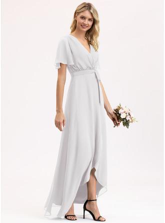 A-Line V-neck Asymmetrical Chiffon Prom Dresses With Bow(s)