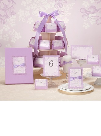 Lilac Favor & Reception Sets With Bows(Including 1*Guest Book, 50*Favor Holders, 50*Invitation Cards and 10*Place Cards)