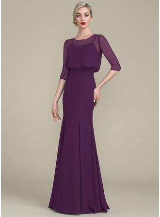 Trumpet/Mermaid Scoop Neck Floor-Length Chiffon Evening Dress With Ruffle