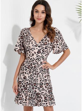 Kjole med A-linje V-hals Bomuld Mode kjoler