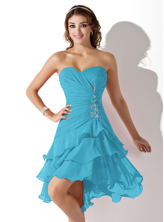 A-Line Sweetheart Asymmetrical Chiffon Homecoming Dress