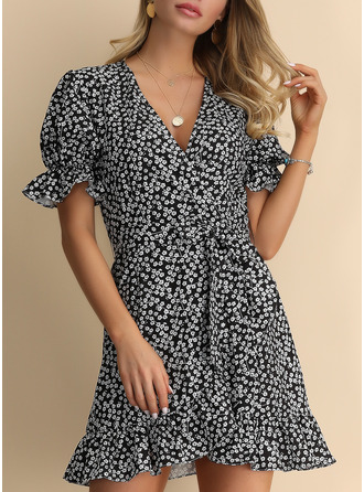 Print A-line Short Sleeves Mini Casual Elegant Vacation Wrap Dresses