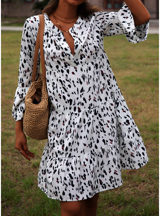 Print Shift Flare Sleeve Long Sleeves Midi Casual Tunic Dresses