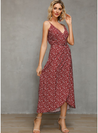 Print A-line Sleeveless Asymmetrical Casual Vacation Type Dresses