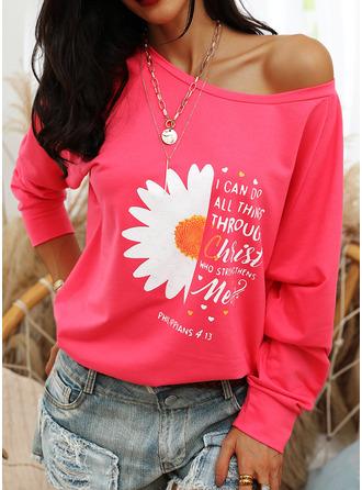 Print Sunflower Print Figure One Shoulder Long Sleeves Sweatshirt