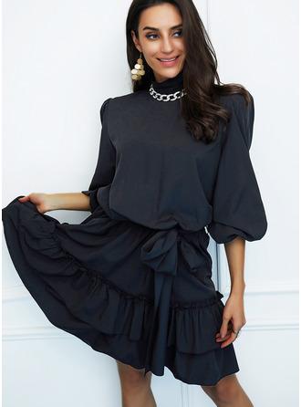 Solid A-line Long Sleeves Mini Little Black Elegant Skater Dresses