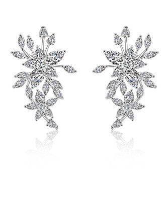 Ladies' Feather Design Copper/Cubic Zirconia Cubic Zirconia Earrings For Bride
