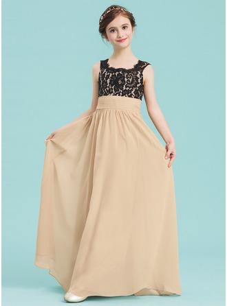A-Line/Princess Square Neckline Floor-Length Chiffon Junior Bridesmaid Dress