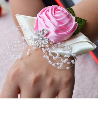 Nydelig Satin/Rhinestone/Imitert Perle Håndledd Corsage