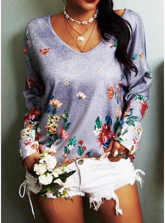Floral Print V-Neck Long Sleeves Casual T-shirt