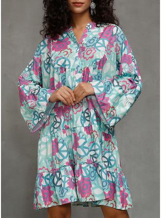 Print Shiftklänningar 3/4 ärmar Midi Fritids Tunika Modeklänningar