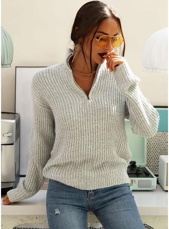 V-Ausschnitt Lässige Kleidung Einfarbig Grobstrick Gerippt Pullover