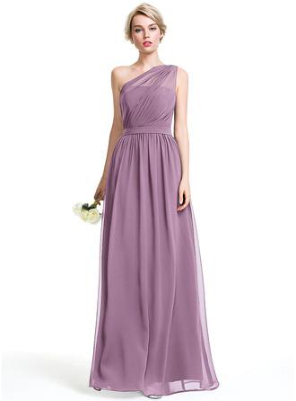 A-Line One-Shoulder Floor-Length Chiffon Bridesmaid Dress With Ruffle