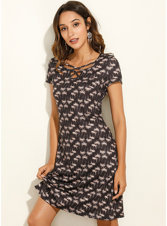 Print A-line Short Sleeves Mini Casual Skater Dresses