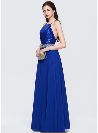 A-Line/Princess Scoop Neck Floor-Length Satin Chiffon Prom Dresses With Beading