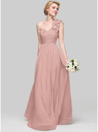 A-linjainen/Prinsessa Yksiolkaiminen Lattiaa hipova pituus Sifonki Morsiusneitojen mekko jossa Rypytys Kukka(t)