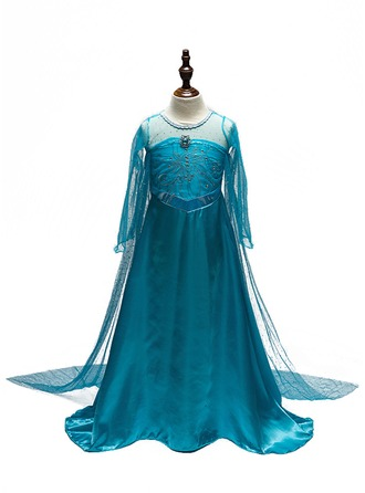 A-Line/Princess Floor-length Flower Girl Dress - Polyester Long Sleeves Scoop Neck