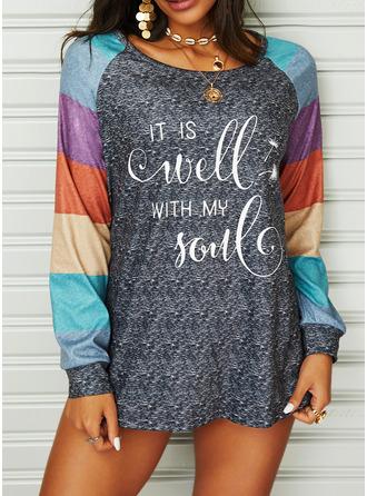 Dandelion Figure Color Block Print Round Neck Long Sleeves Casual Blouses