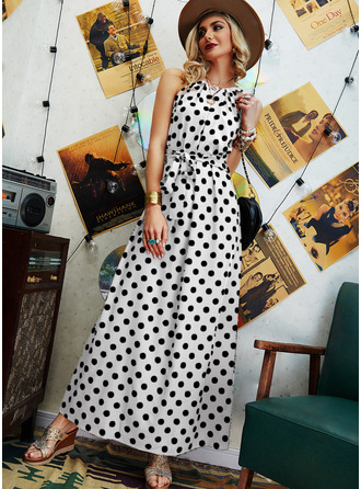 PolkaDot A-line Sleeveless Maxi Casual Skater Dresses