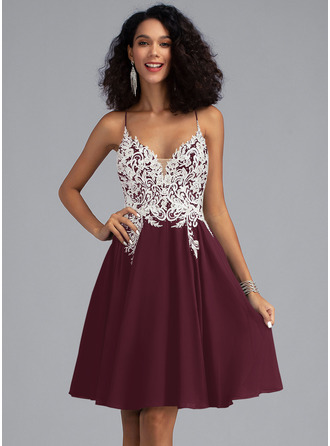 A-Line V-neck Short/Mini Chiffon Homecoming Dress With Lace Beading Sequins