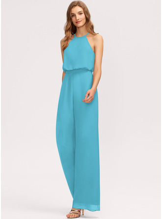 Scoop Neck Floor-Length Chiffon Bridesmaid Dress With Pockets
