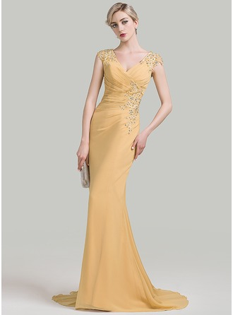 Trumpet/Mermaid V-neck Sweep Train Chiffon Evening Dress With Ruffle Beading Appliques Lace Sequins