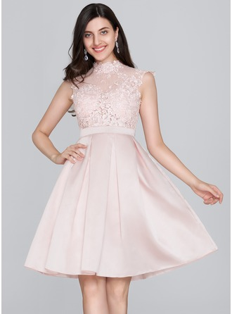 A-Line High Neck Knee-Length Satin Homecoming Dress