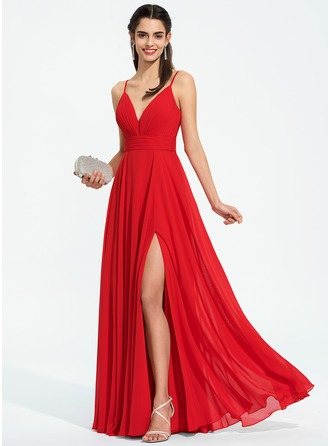 A-Line V-neck Floor-Length Chiffon Evening Dress With Ruffle Split Front