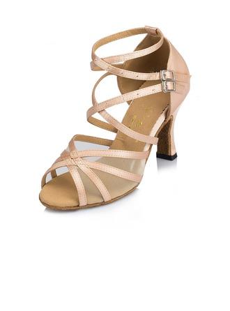 De mujer Satén Tacones Sandalias Danza latina con Agujereado Zapatos de danza